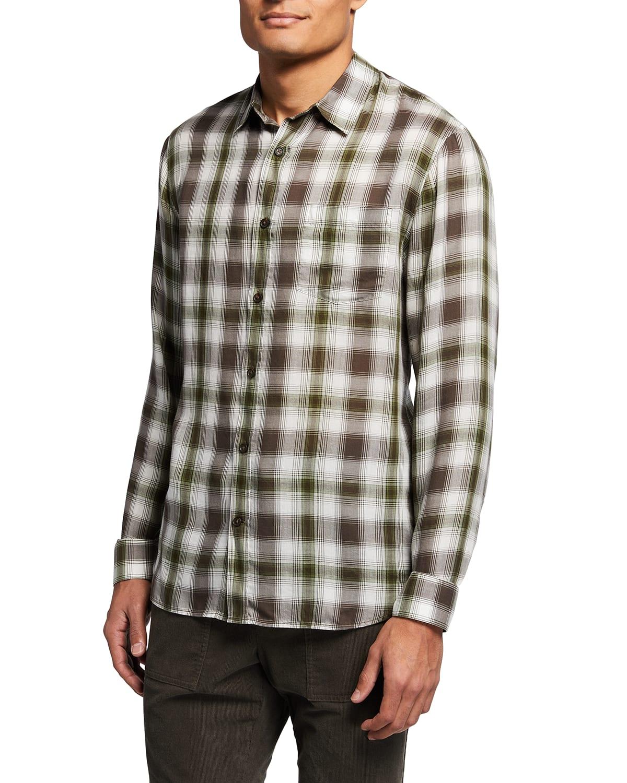 Men's Twill Multi-Plaid Sport Shirt