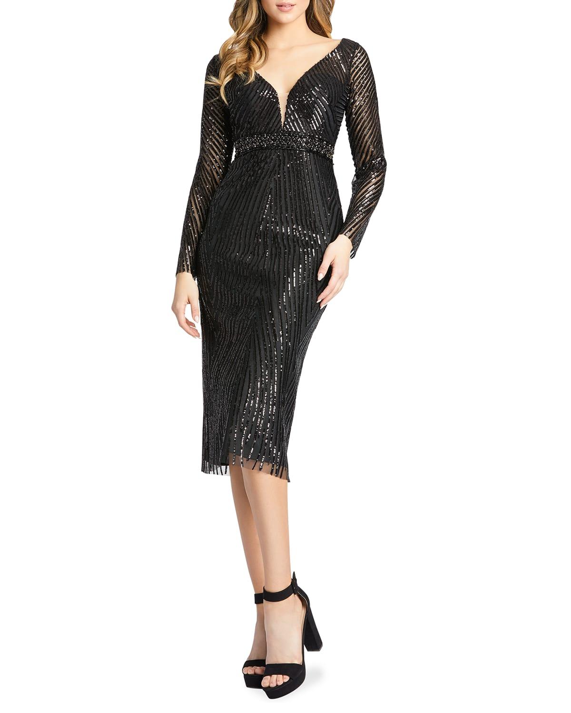Sequin Striped Long-Sleeve Sheath Dress