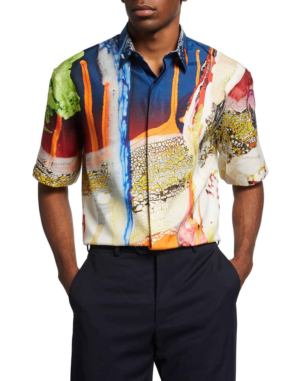 Men's Printed Silk Sport Shirt