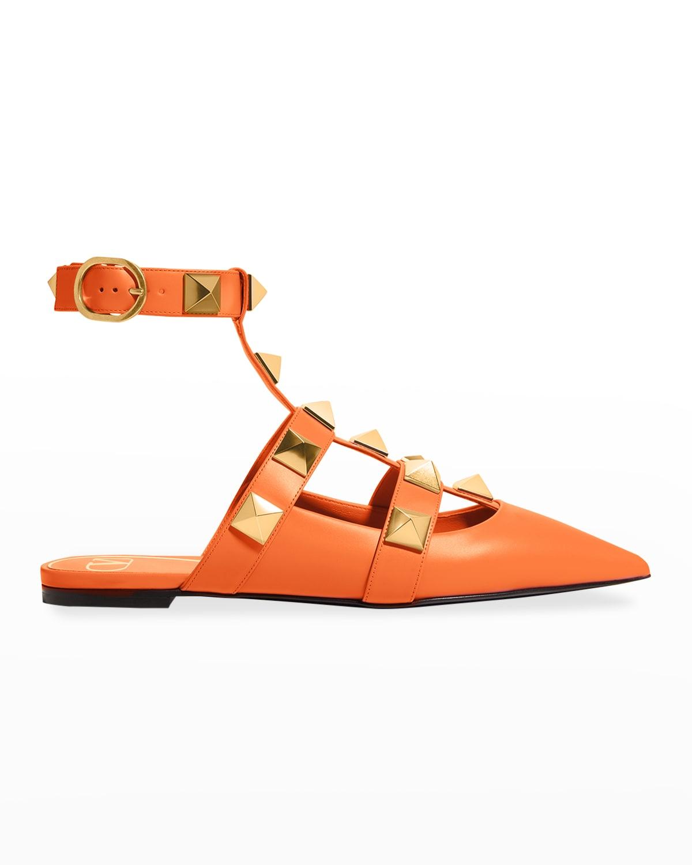 Roman Stud Ankle-Cuff Ballerina Flats