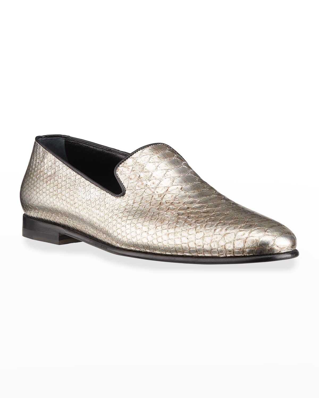 Men's Mario Metallic Python Slippers