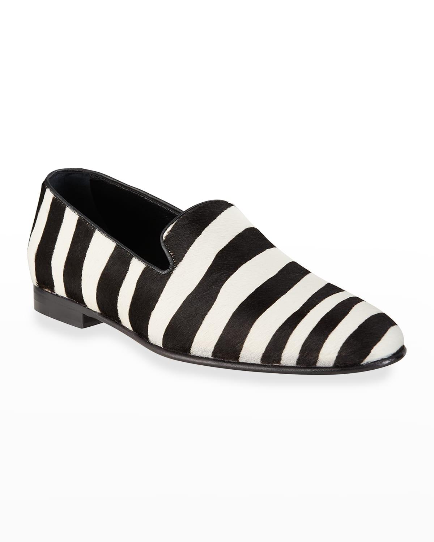 Men's Mario Zebra-Print Calf Hair Slippers