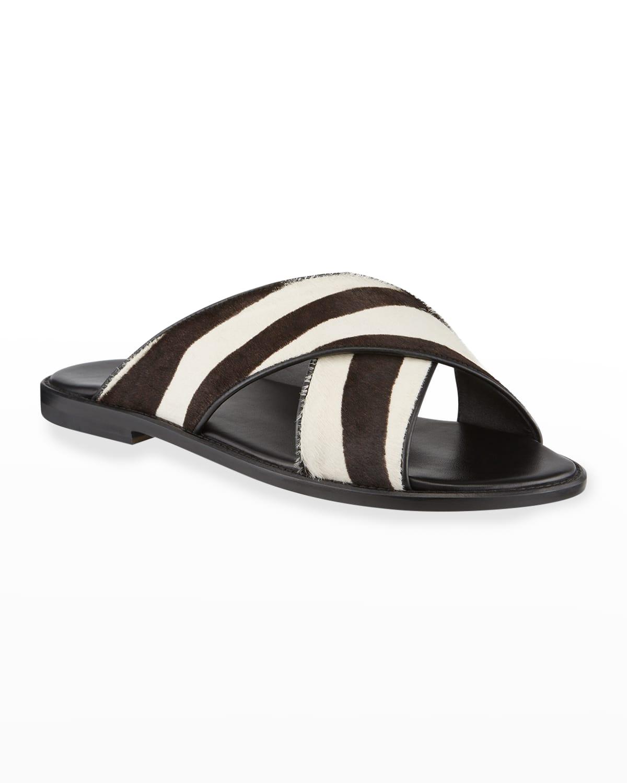 Men's Otawi Zebra-Print Calf Hair Slide Sandals