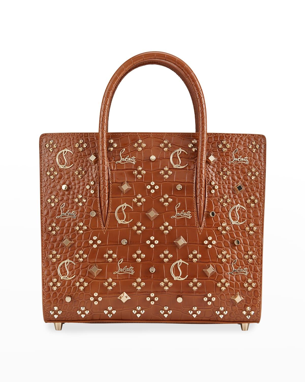 Paloma S Medium Crocodile-Embossed Studded Tote Bag