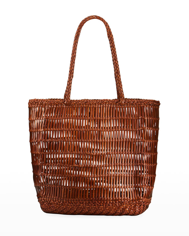 Dora Woven Leather Shopper Tote Bag