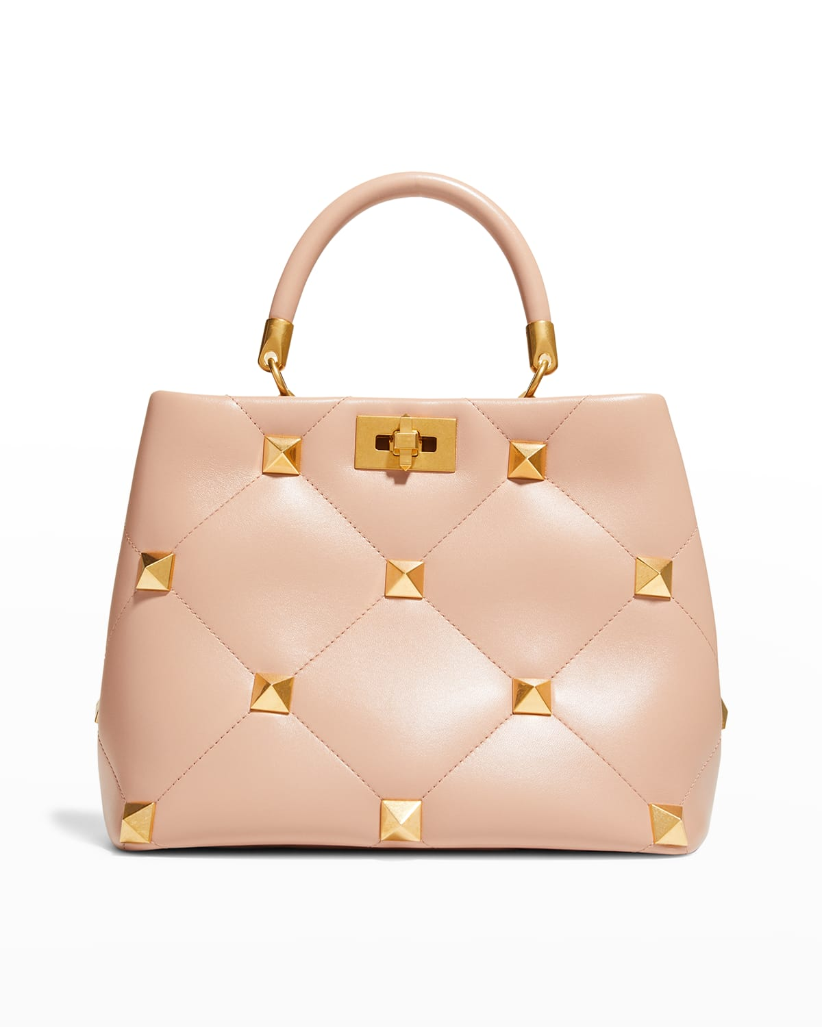 Roman Stud Quilted Napa Top-Handle Bag