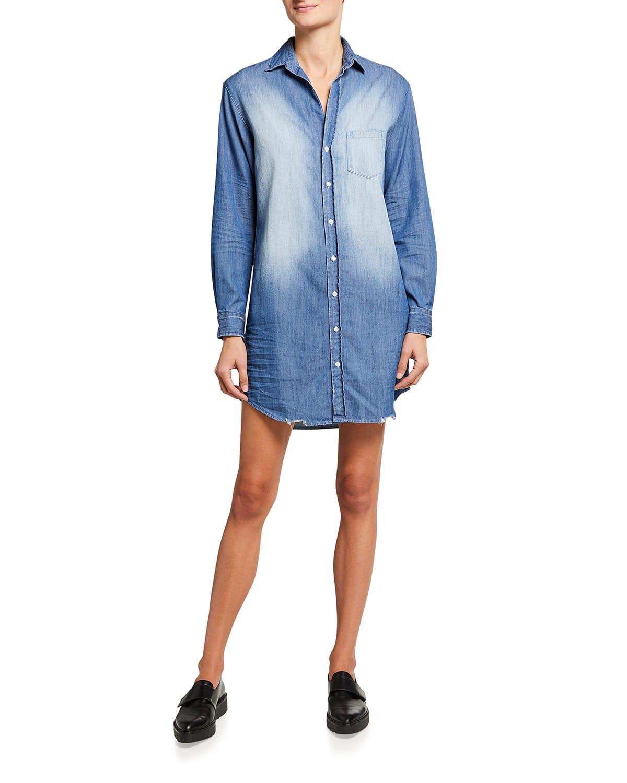 Mary Button-Front Denim Shirtdress