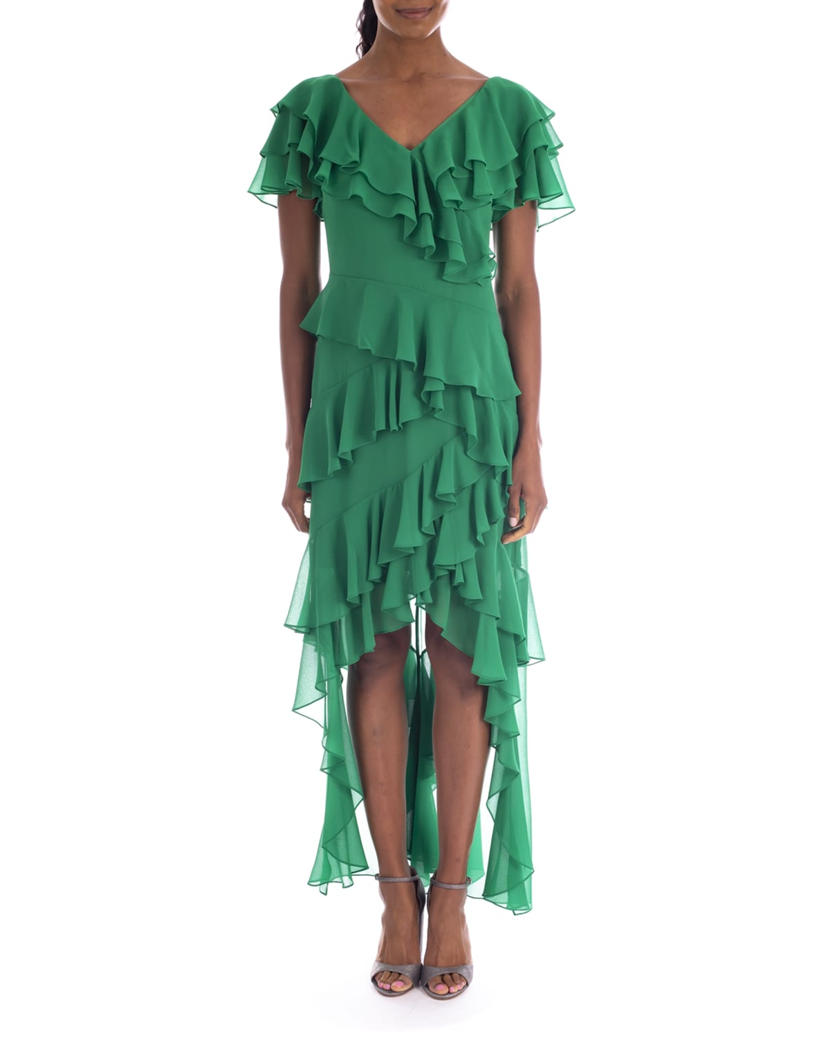 High-Low Tiered Ruffle Gown