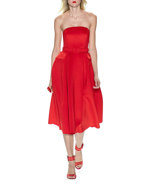 Strapless Scuba Midi Dress