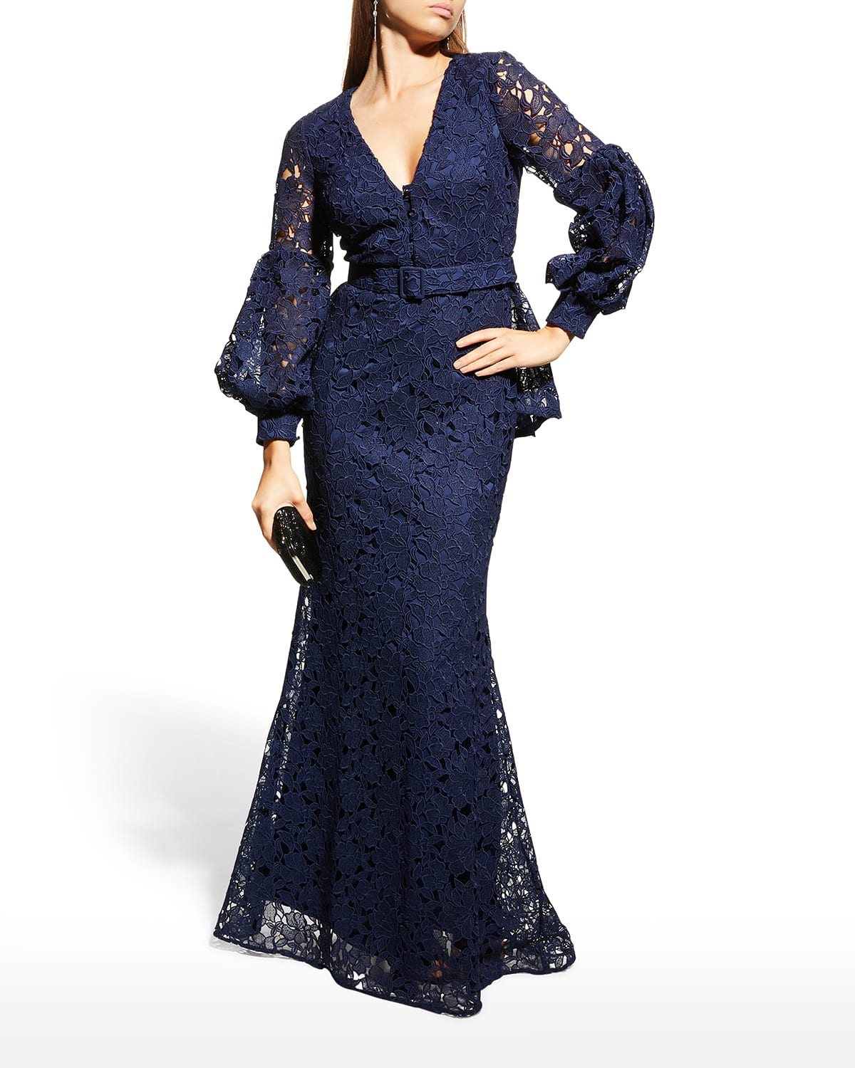 Scalloped V-Neck Puff-Sleeve Lace Peplum Gown