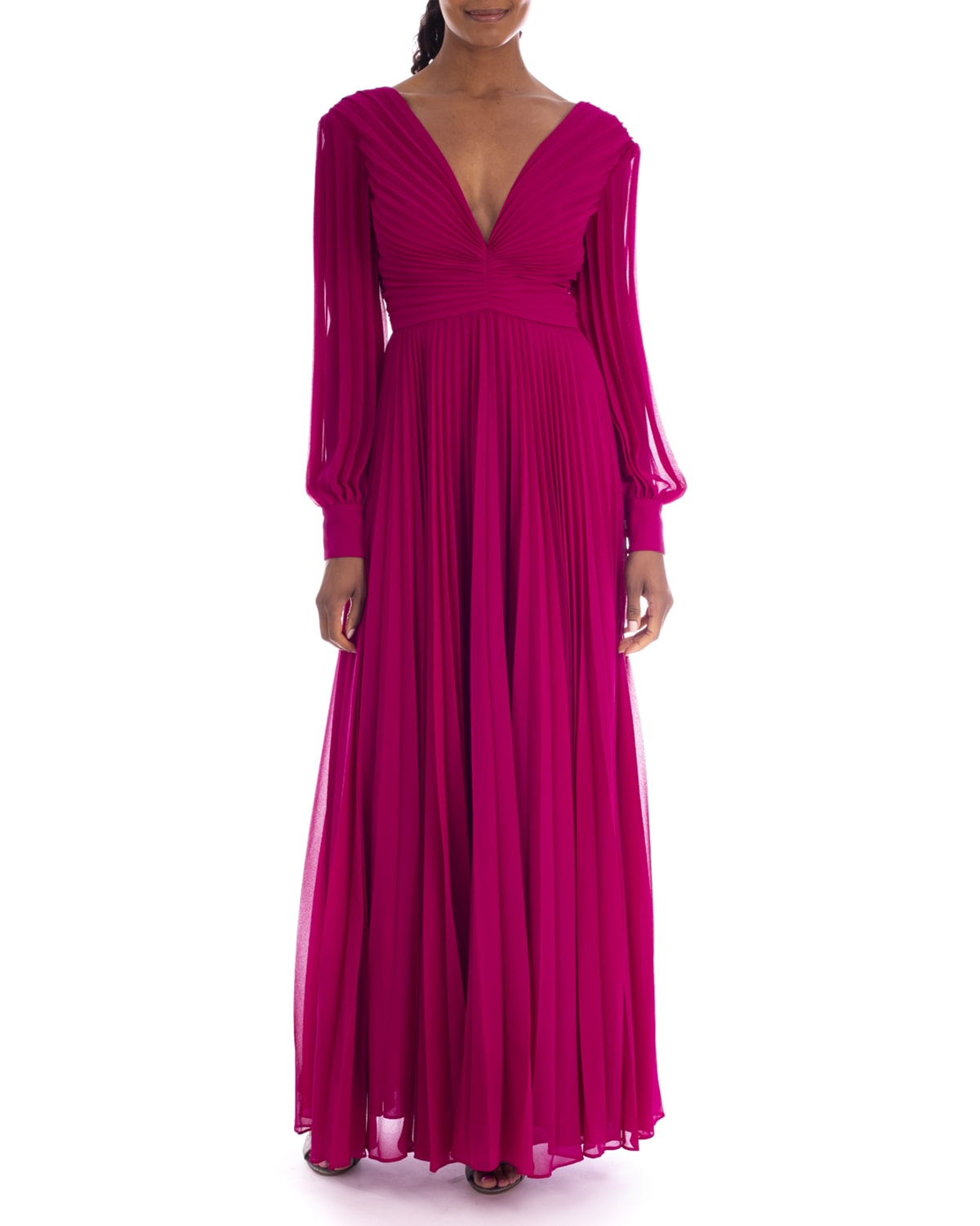 V-Neck Long-Sleeve Pleated Georgette Gown