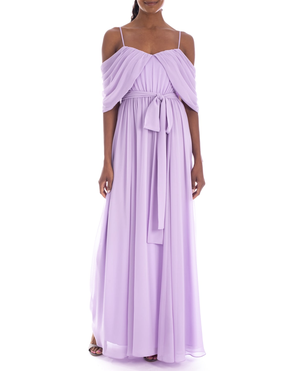 Draped Off-the-Shoulder Georgette Gown