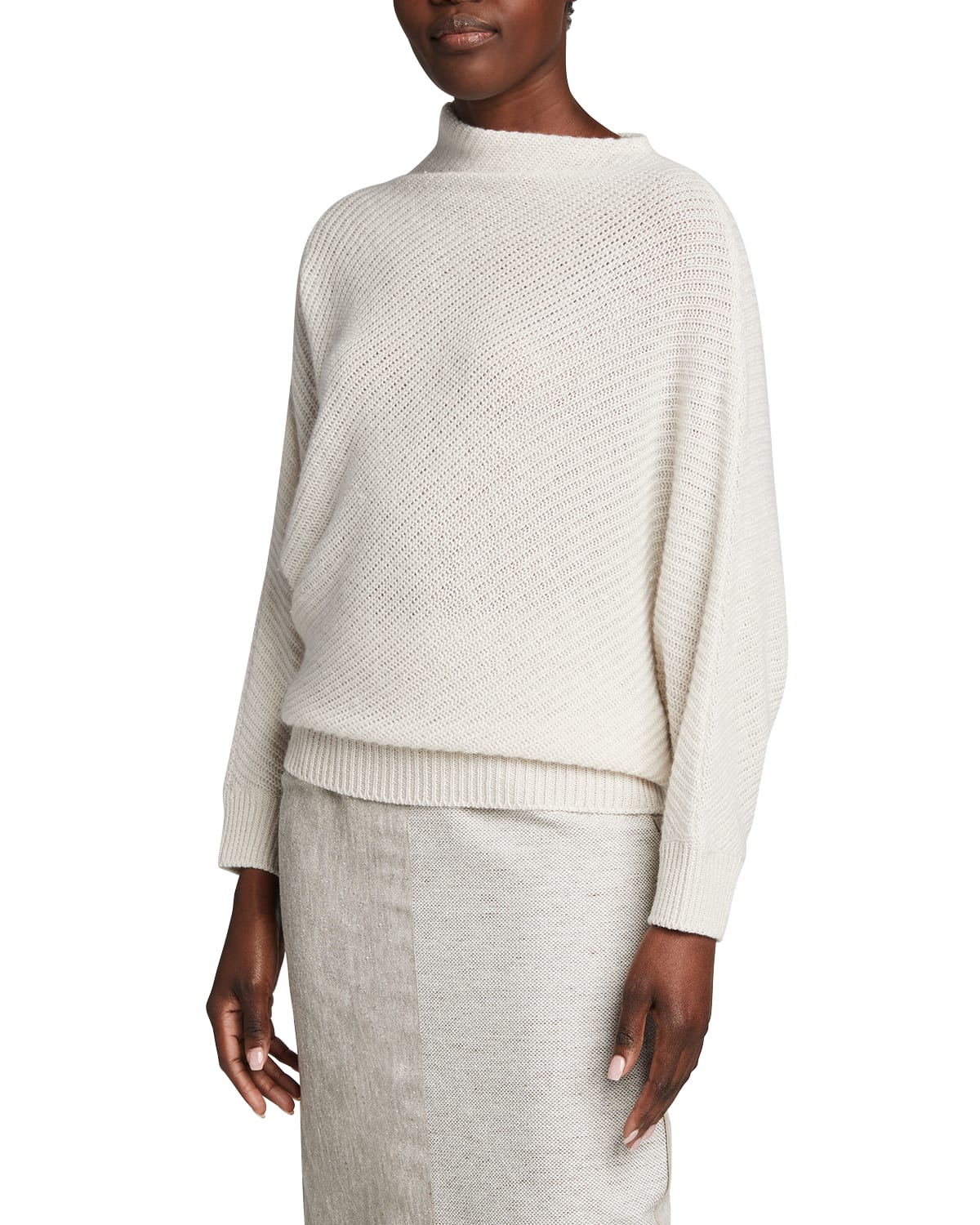 Bias Pearl-Ribbed Funnel-Neck Sweater