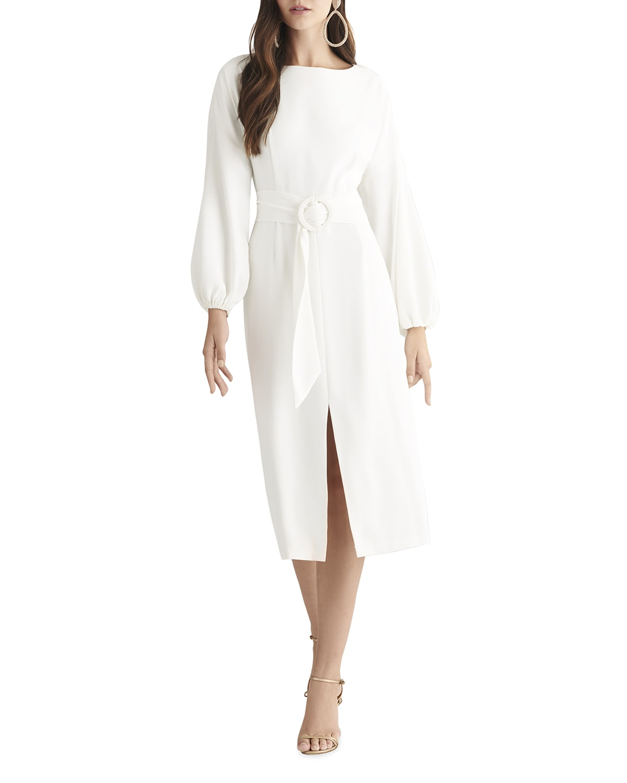 Sachin & Babi Annie Blouson-Sleeve Crepe Midi Dress