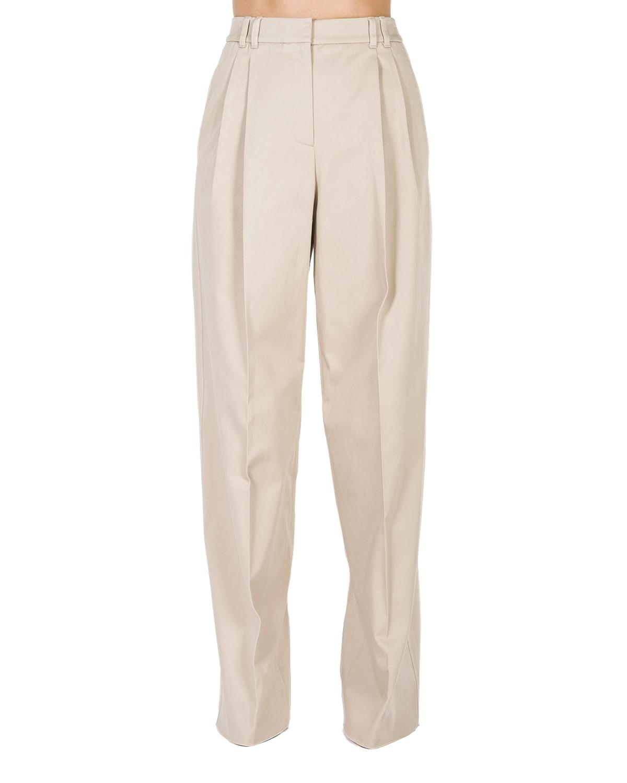 Wide-Leg Pleated Cotton Pants