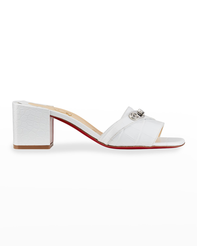 Lock Art Mock-Croc Red Sole Slide Sandals