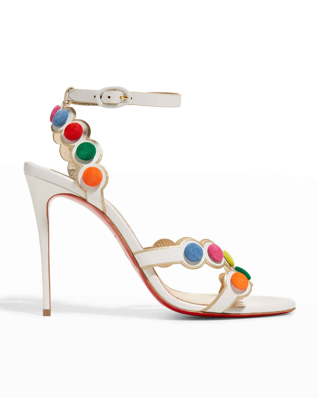 Smartissima Pompom Red Sole Stiletto Sandals