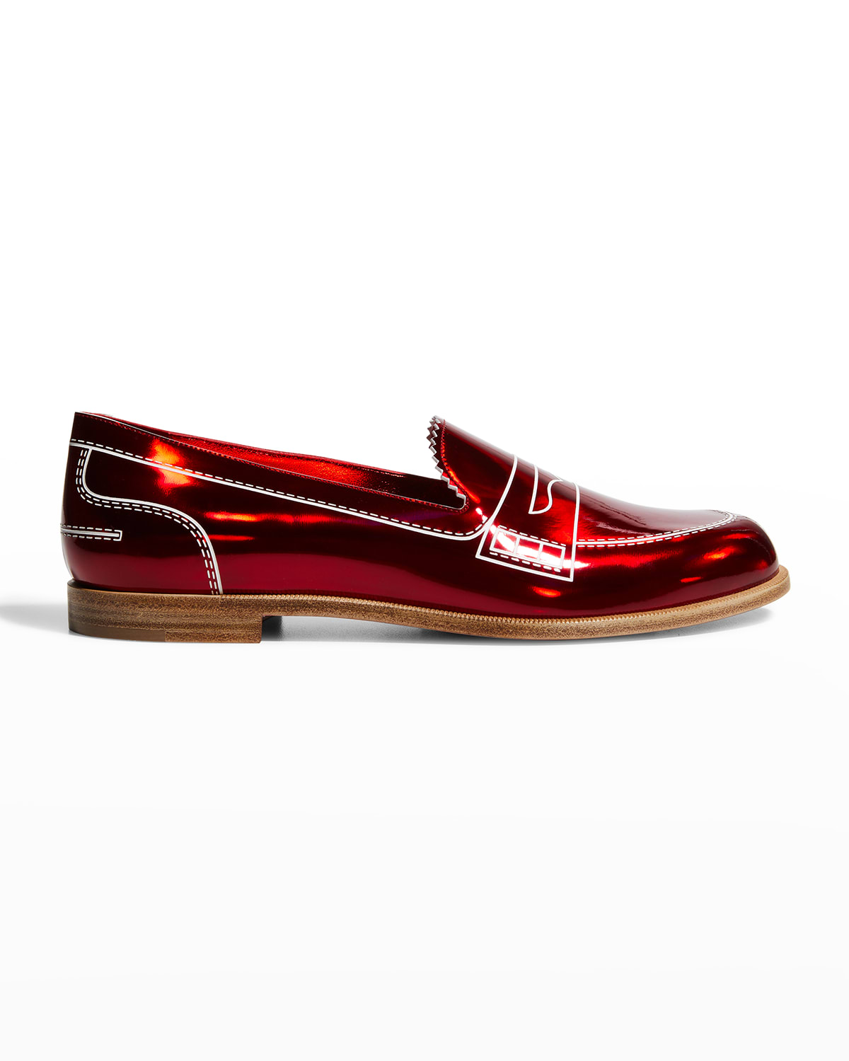Printed Patent Penny Loafers