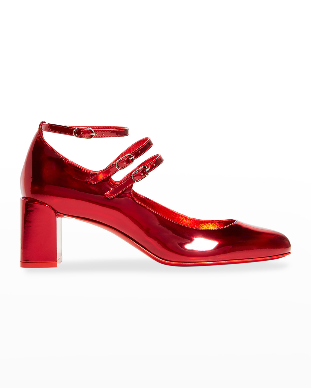 Vernica Iridescent Mary Jane Red Sole Pumps