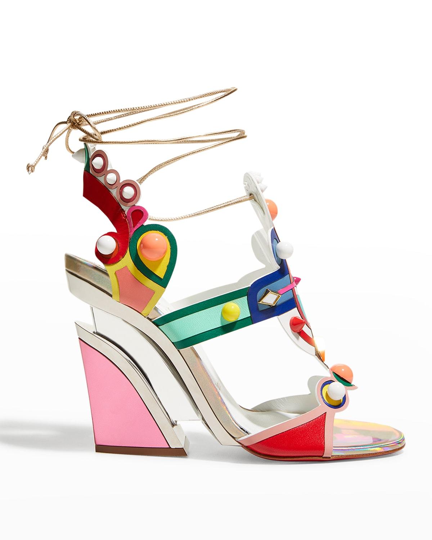 Papagaya Levita Multicolor Ankle-Wrap Wedge Sandals