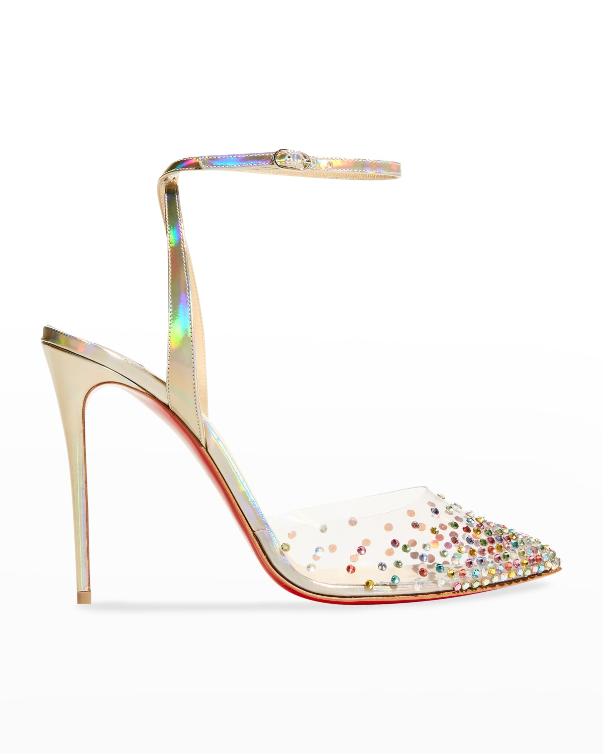 Spikaqueen Crystal Transparent Ankle-Strap Red Sole High-Heel Pumps