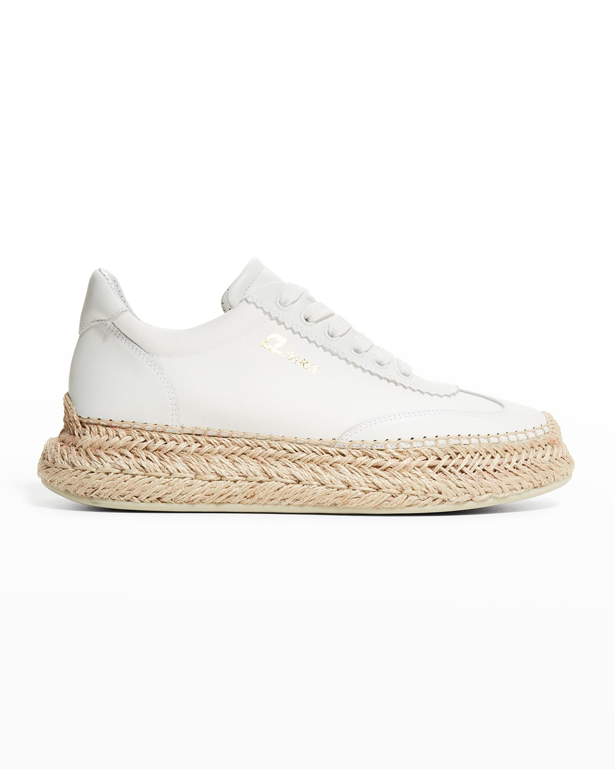 Espasneak Leather Low-Top Red Sole Espadrille Sneakers