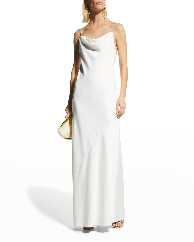 Jewel-Strap Cowl-Neck Satin Gown