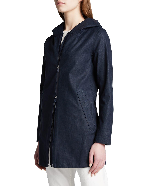 Linen-Blend A-Line Raincoat