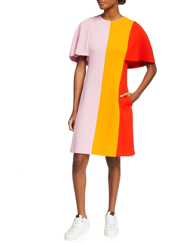 Colorblock Flutter-Sleeve Dress