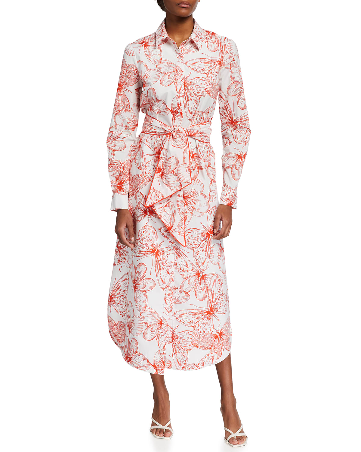 Butterfly-Print Belted Midi Dress