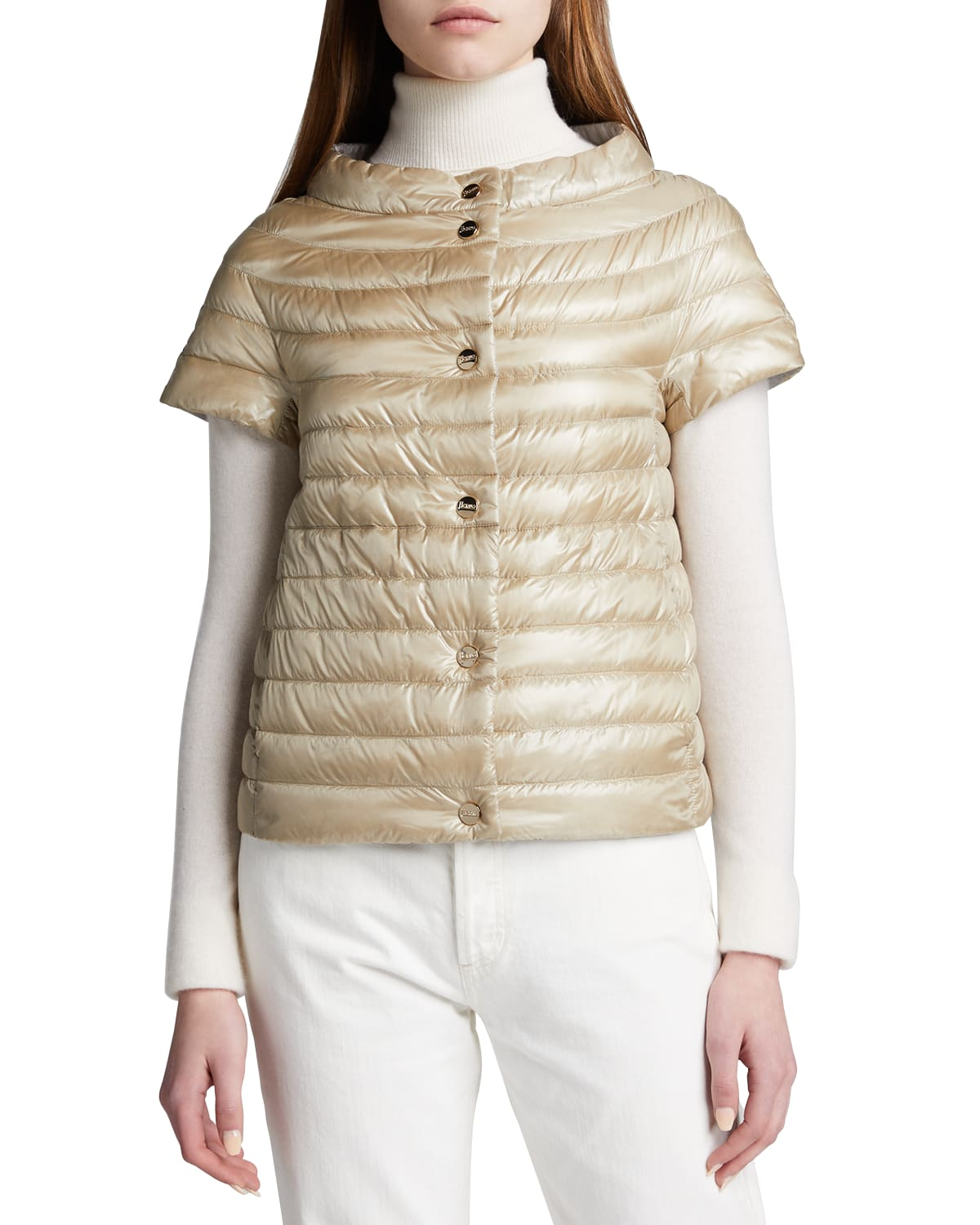 Short-Sleeve Channel-Quilt Jacket