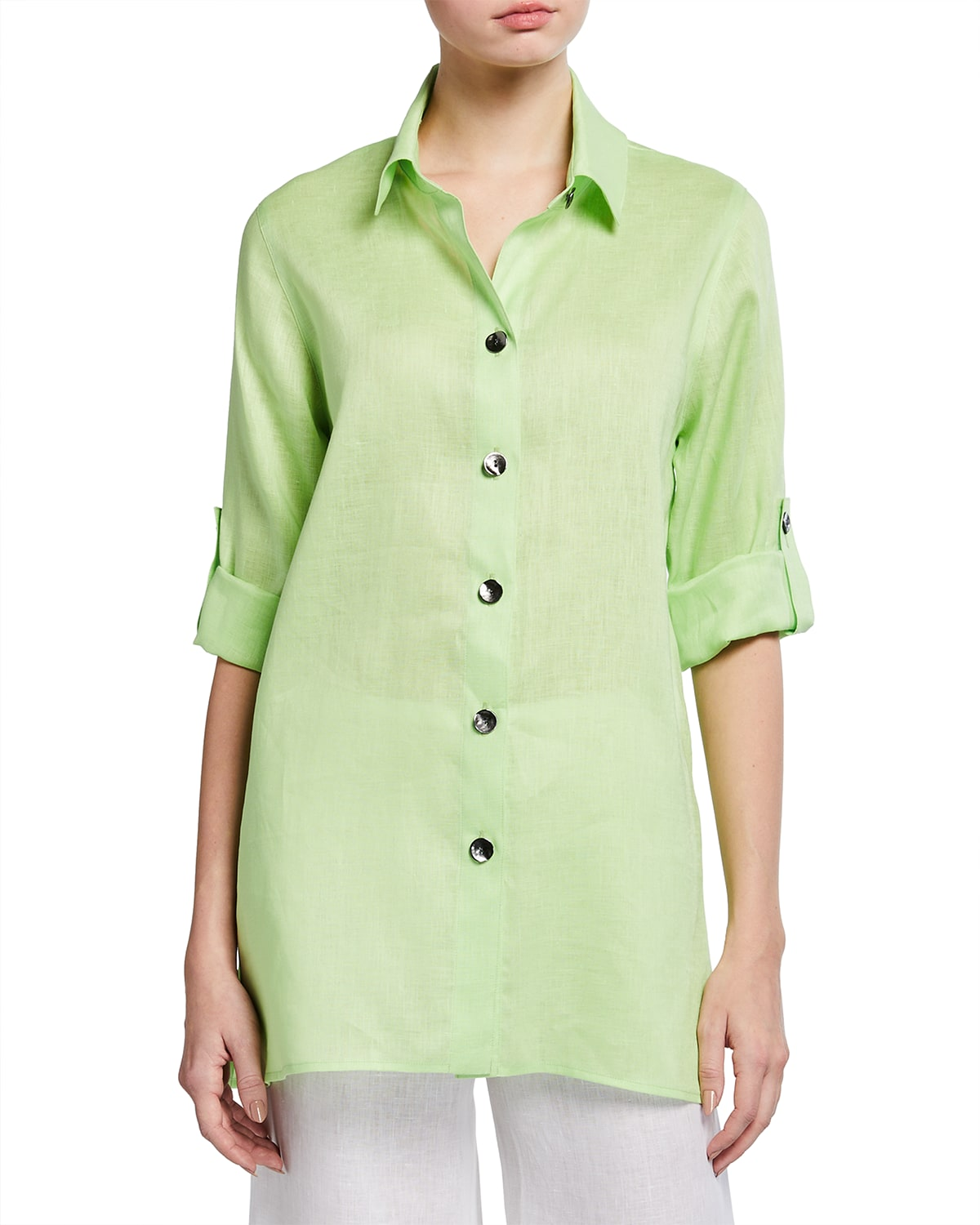Plus Size Collared Tissue Linen Tab Shirt