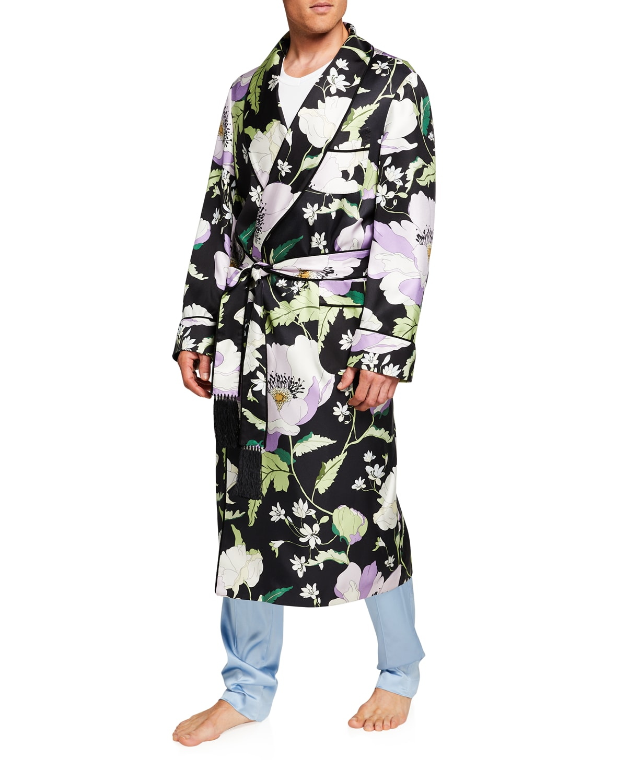 Men's Silk Grand Poppy Floral-Print Robe