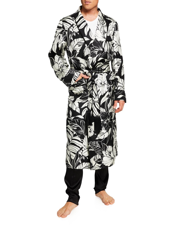 Men's Silk Two-Tone Hibiscus-Print Robe