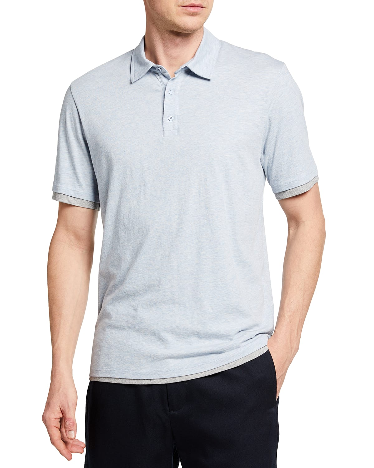 Men's Double-Layer Jersey Polo Shirt