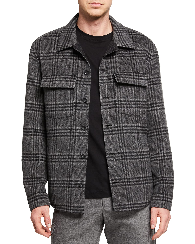 Men's Triple-Check Plaid Cashmere Overshirt