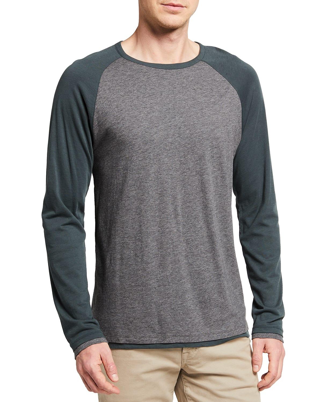 Men's Double-Layer Baseball Crew T-Shirt