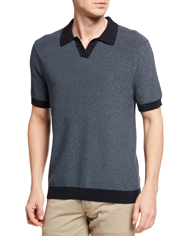 Men's Textured Johnny-Collar Polo Shirt