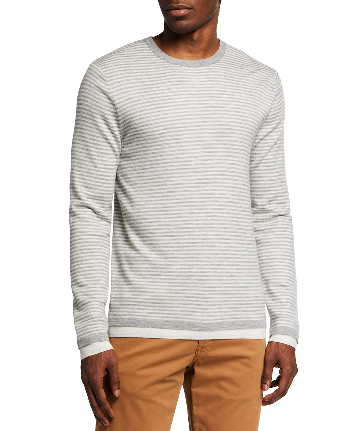 Men's Double-Layer Striped Wool Sweater