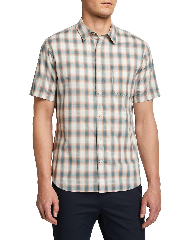 Men's Shadow Plaid Short-Sleeve Sport Shirt