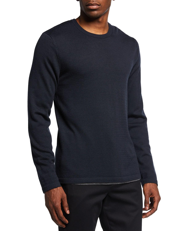 Men's Double-Layer Wool Crew Sweater