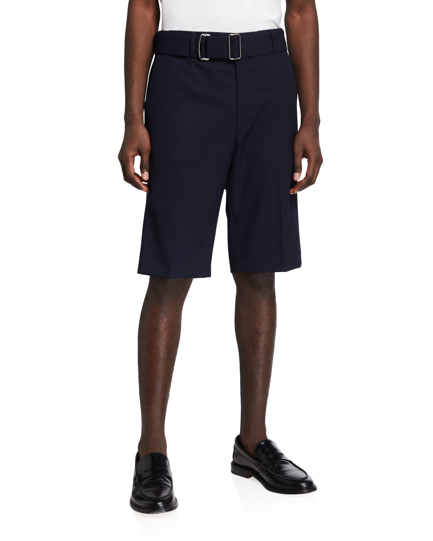 Men's Gabardine Self-Belt Long Shorts