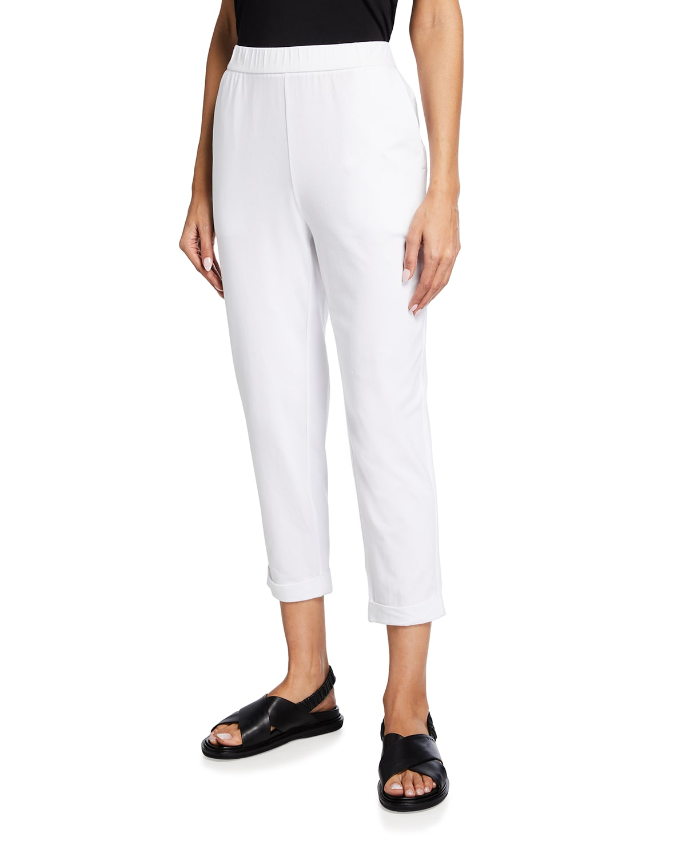 Organic Stretch Cotton Jersey Cropped Slim Pants