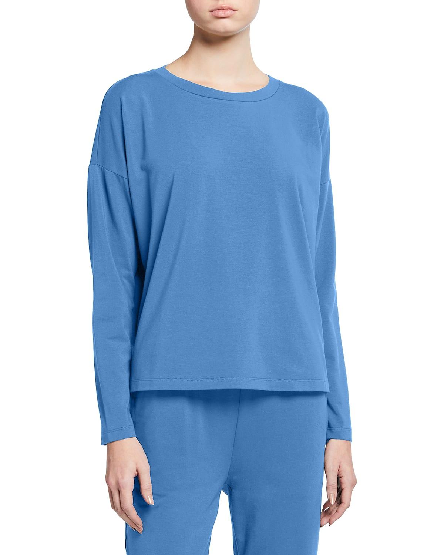 Organic Cotton Jersey Long-Sleeve Crewneck Top