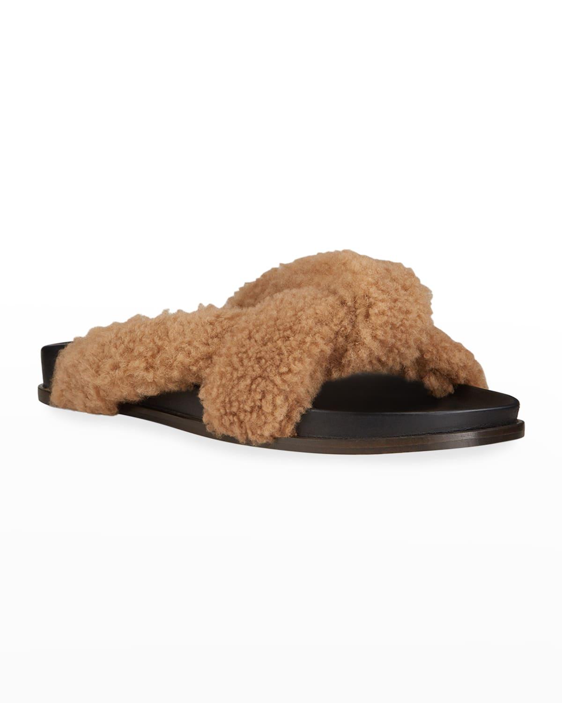 Crisscross Shearling Slide Sandals