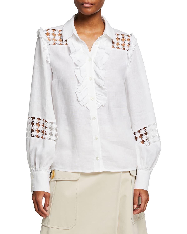 Linen Cutout Ruffled Button-Front Blouse