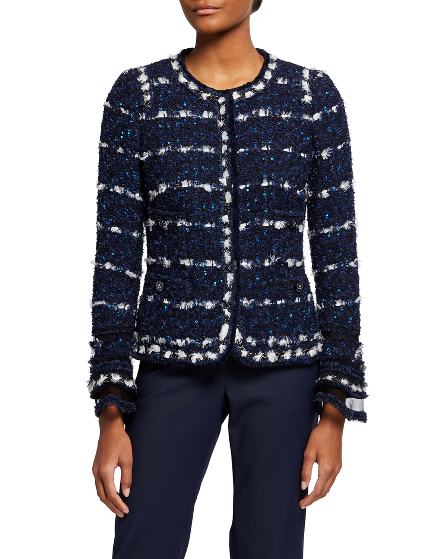 Tweed Bell-Sleeve Jacket w/ Tulle Cuffs