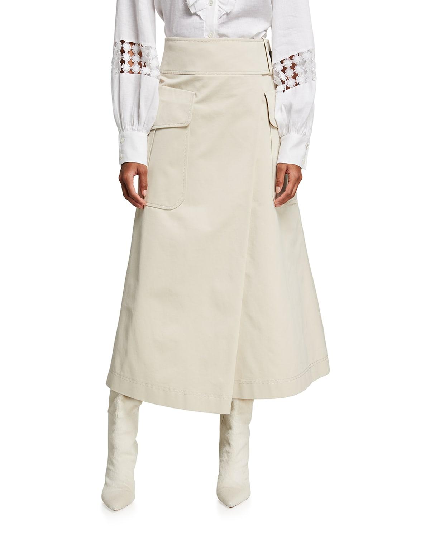 Faux-Wrap Linen-Blend Midi Skirt