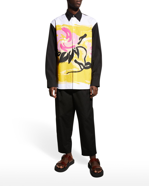 Men's Painted Floral-Print Shirt