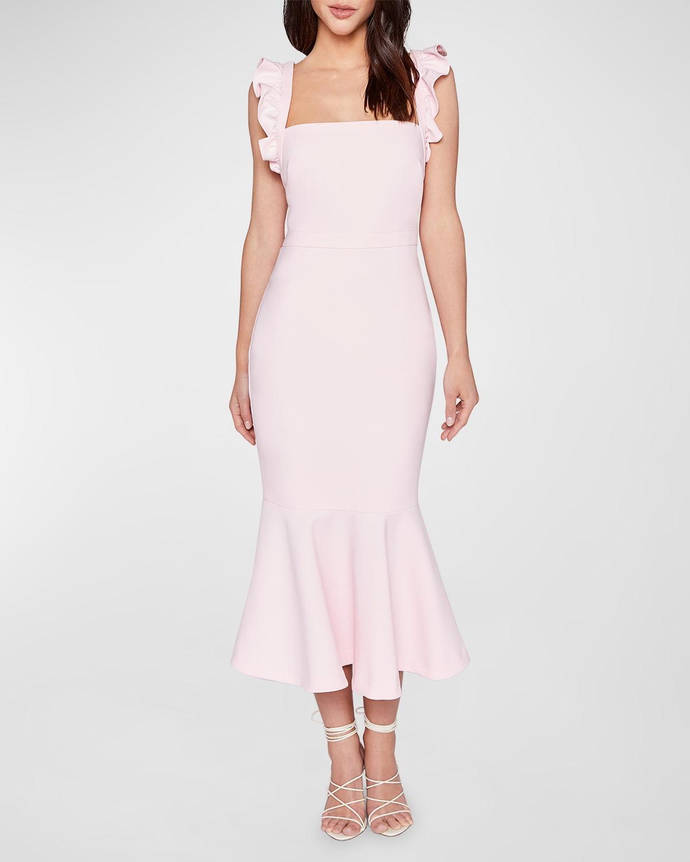 Hara Sleeveless Flounce-Hem Midi Dress